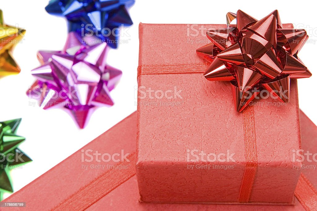 Many gifts and bows of different colors royalty-free stock photo