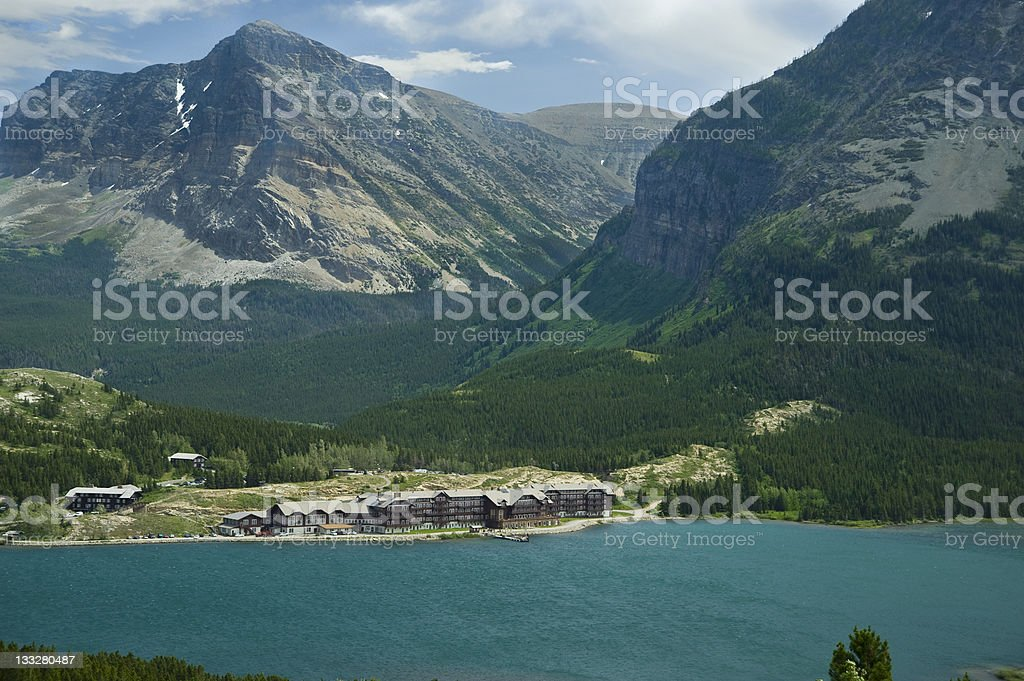 Many Glacier Hotel on Turquoise Swiftcurrent Lake stock photo