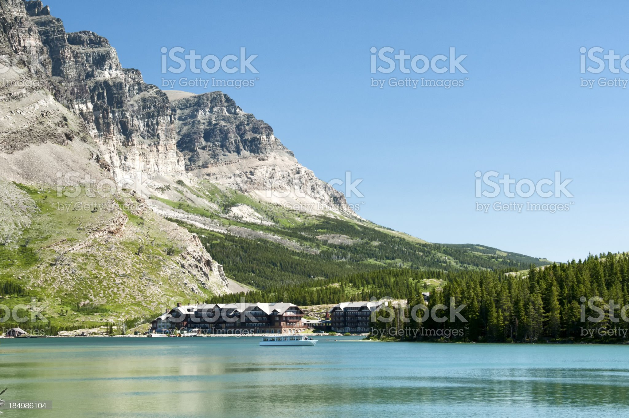 Many Glacier Hotel royalty-free stock photo