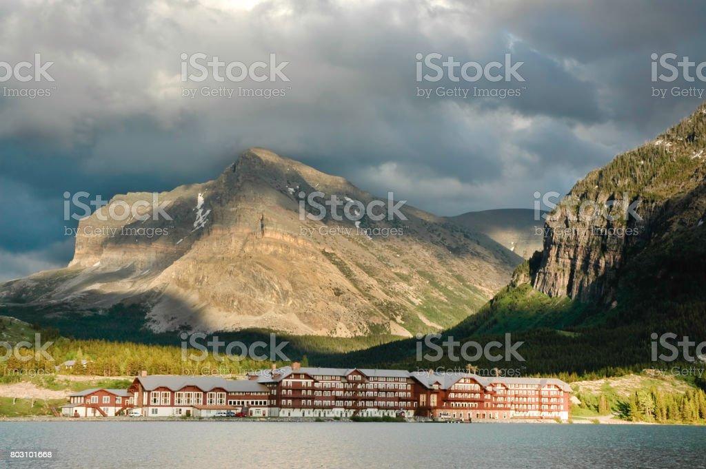 Many Glacier Hotel stock photo