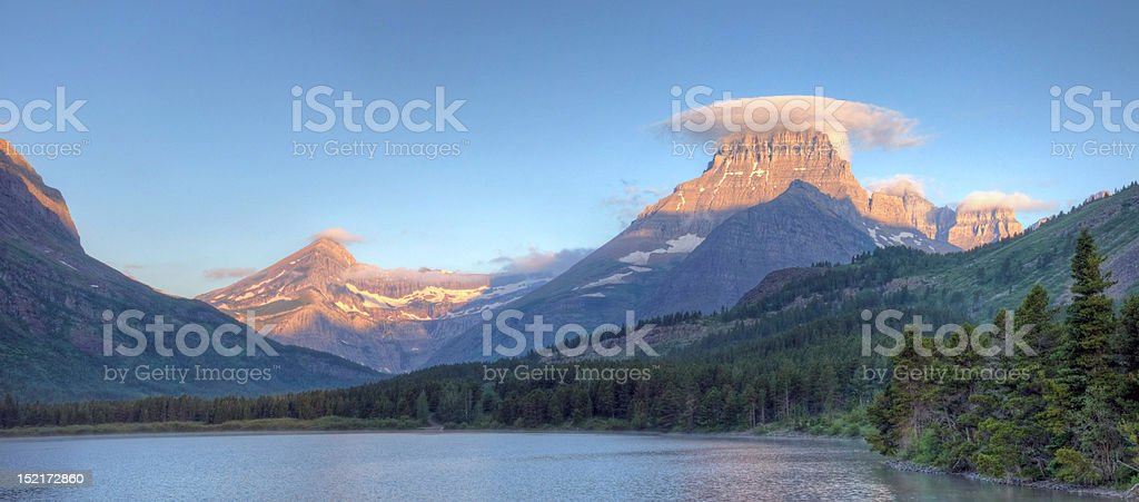 Many Glacier Panorama royalty-free stock photo