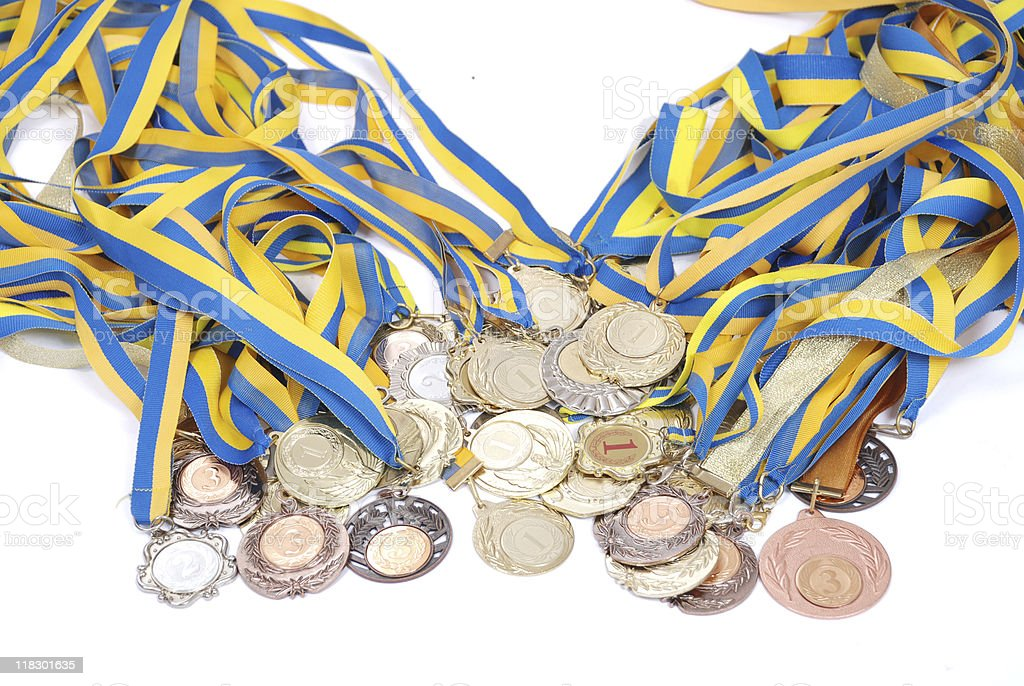 Many gold, silver, and bronze medals royalty-free stock photo