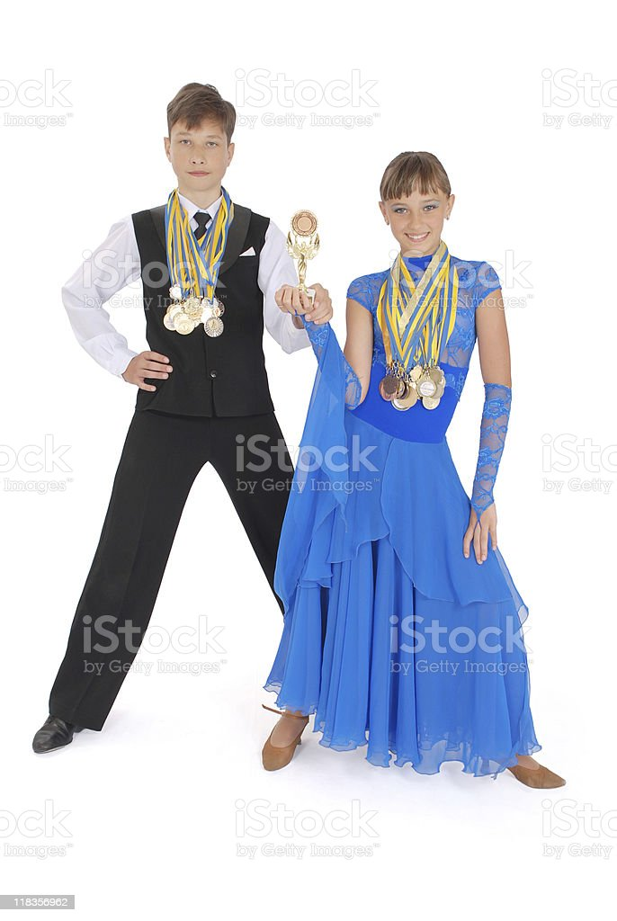 Many gold, silver, and bronze medals winner royalty-free stock photo