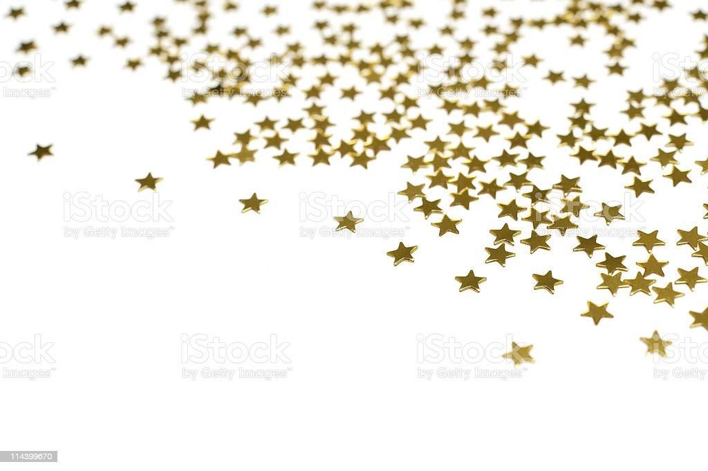 Many golden stars, christmas background royalty-free stock photo