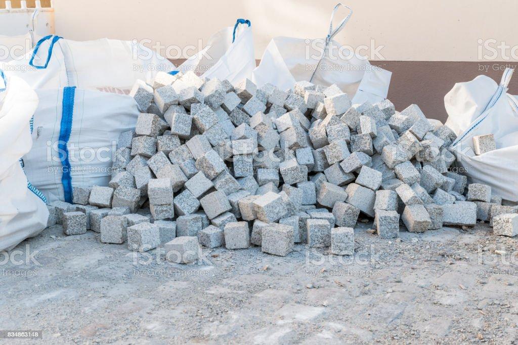 Many granite stones for road coating stock photo