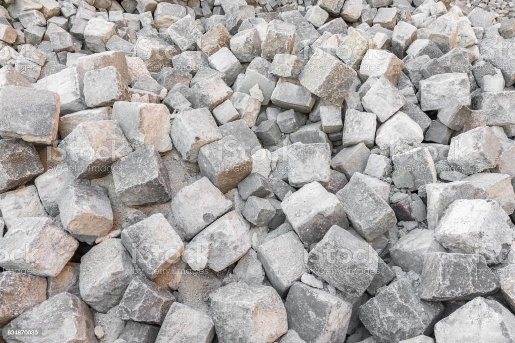 Many granite stones for road coating stock photo