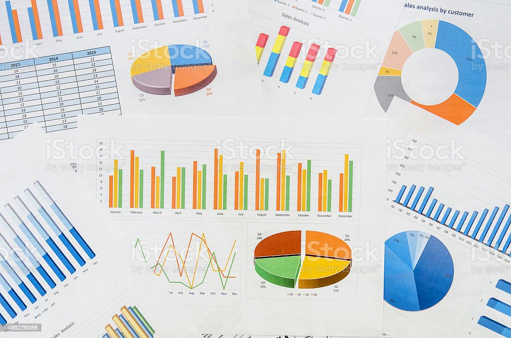 Many graphs stock photo