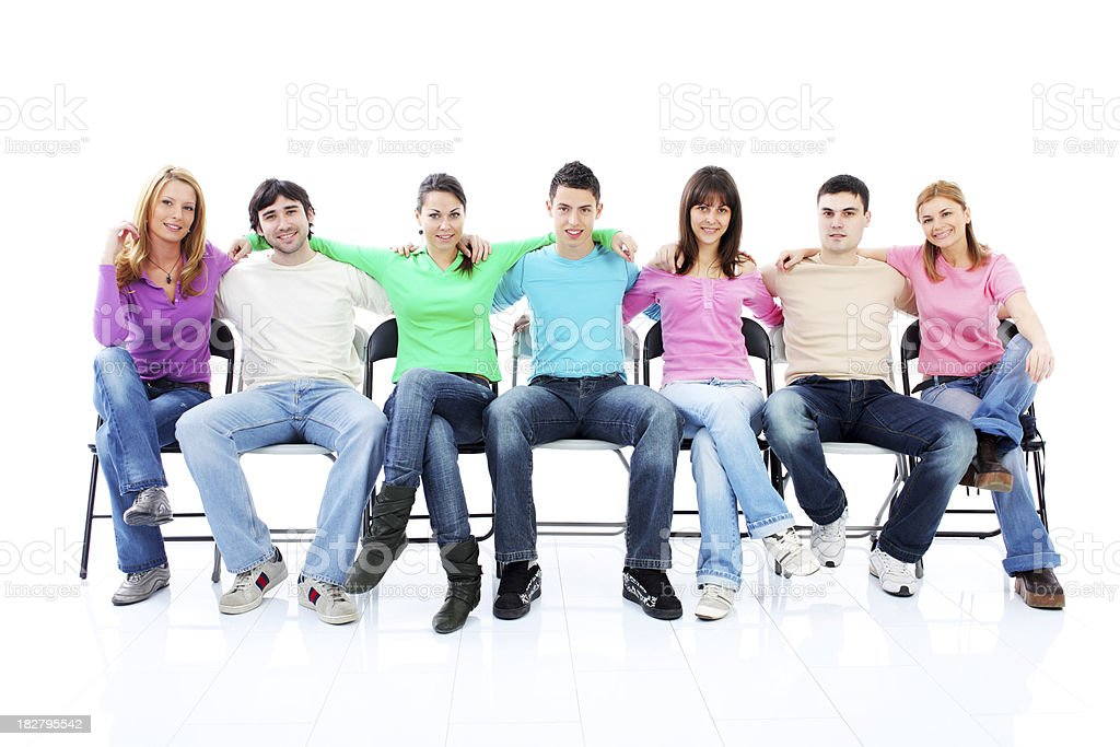 Many group of a friends sitting together. royalty-free stock photo