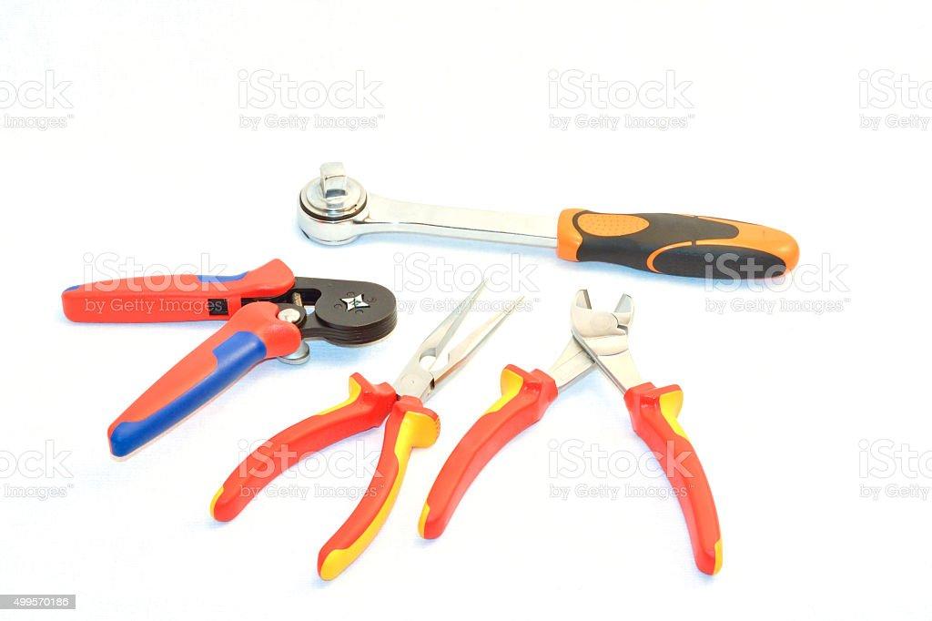 Many hand tools on white background stock photo