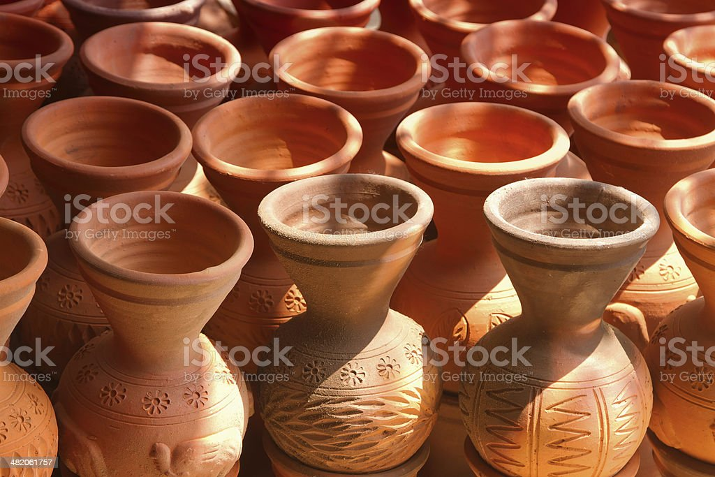 Many handmade clay pots royalty-free stock photo