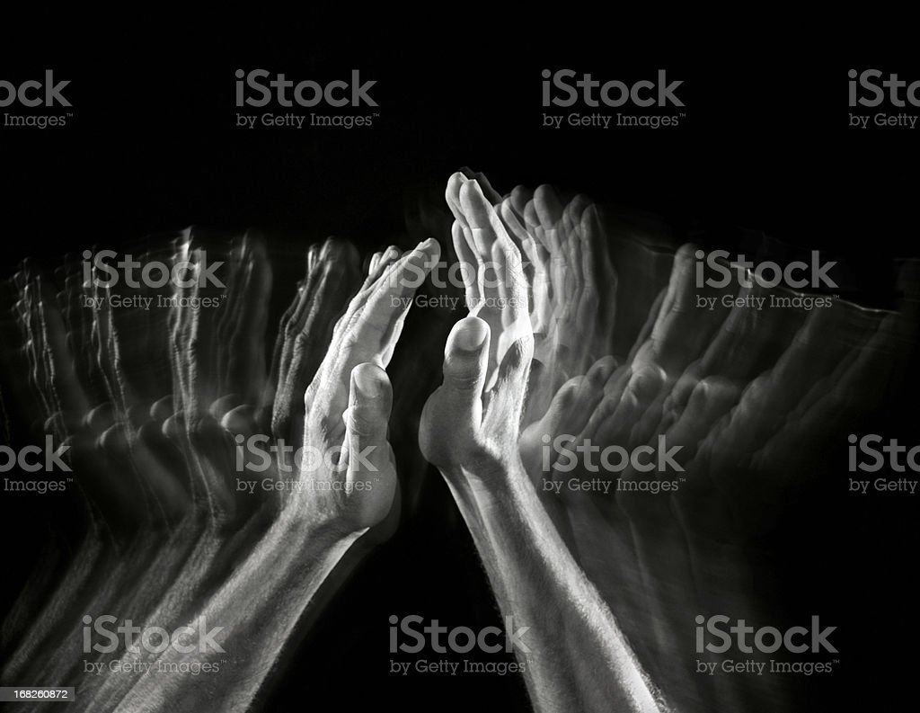 Many hands giving a round of applause stock photo