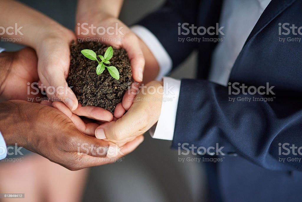 Many hands make light work stock photo