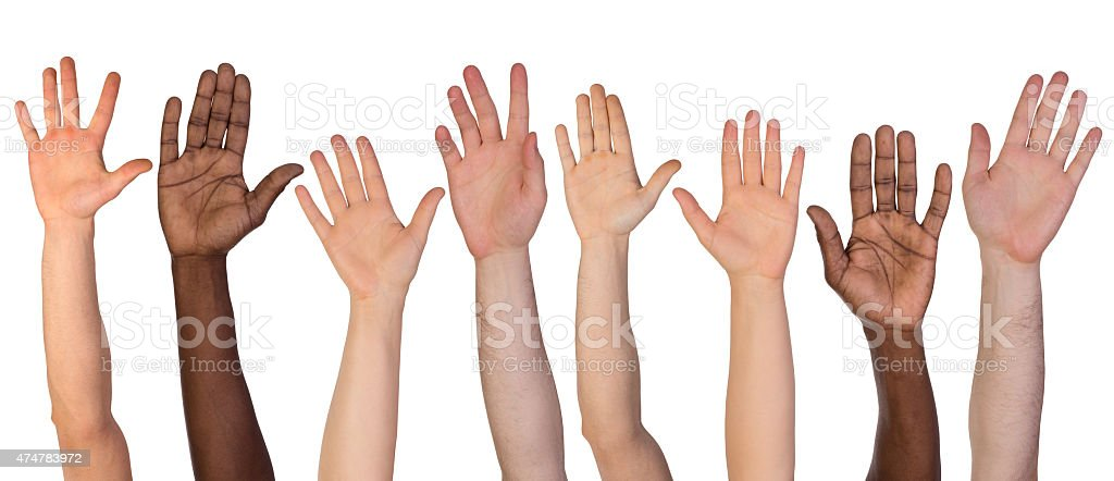 Many hands up stock photo