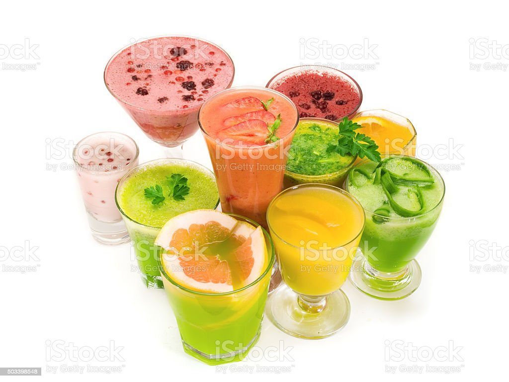 Many healthy drinks isolated on white background stock photo