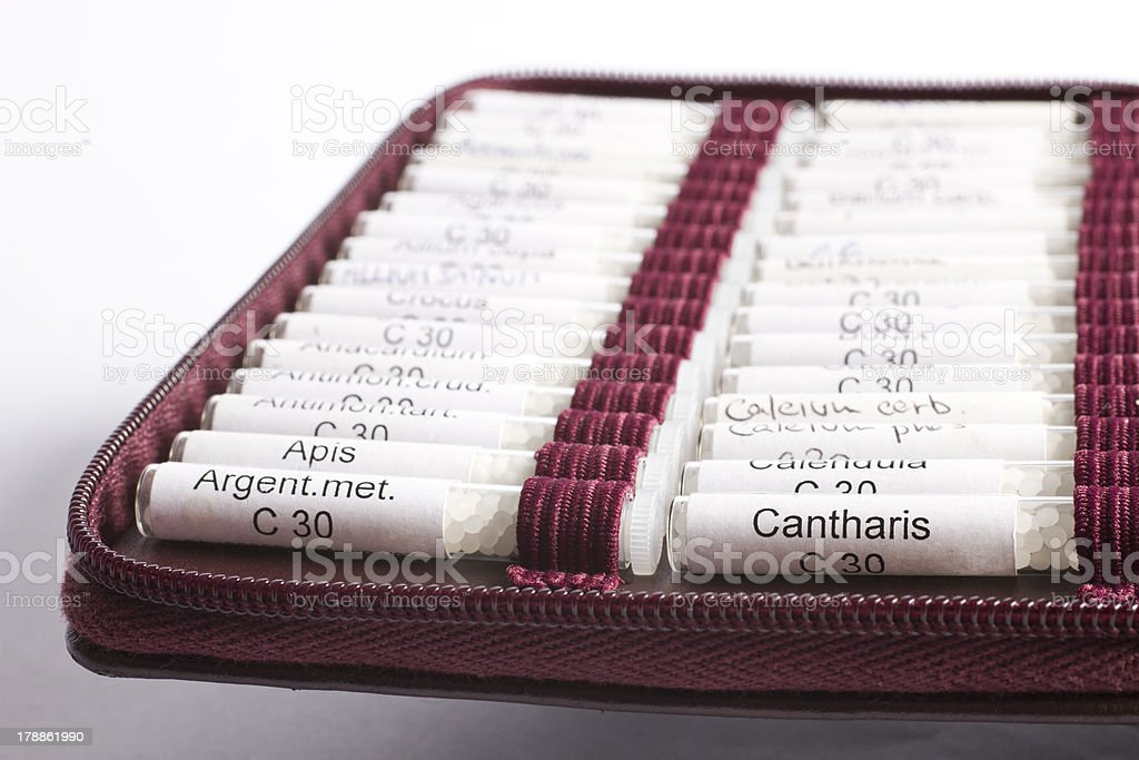 many homeopathic globule used by midwifes stock photo