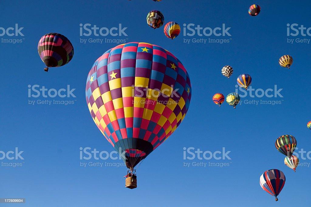Many Hot Air Balloons in Flight stock photo
