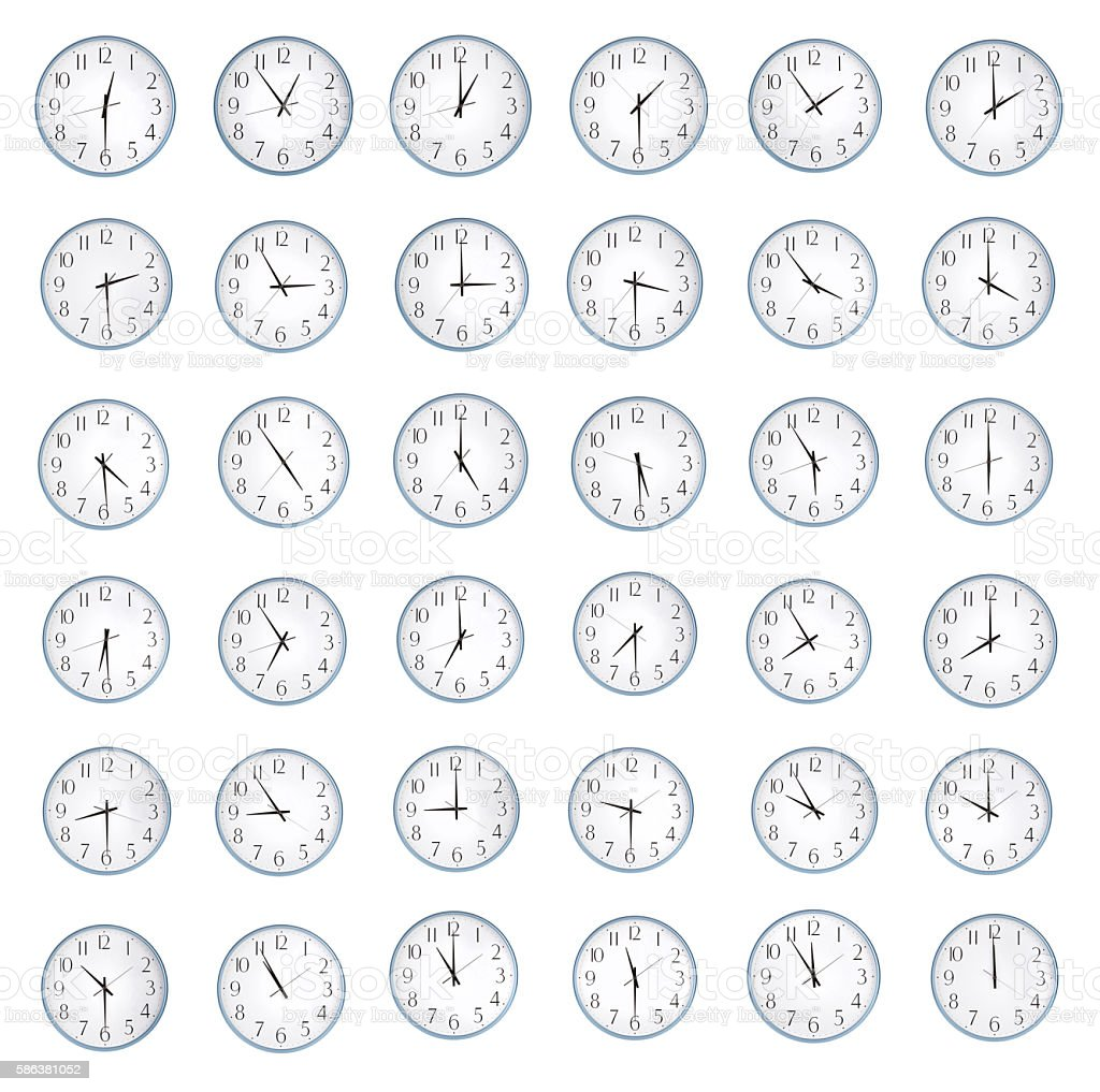 Many hours with different time stock photo