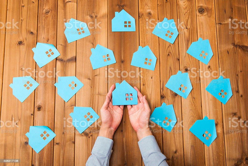 Many houses image stock photo