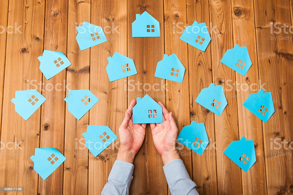 Many houses image stock photo