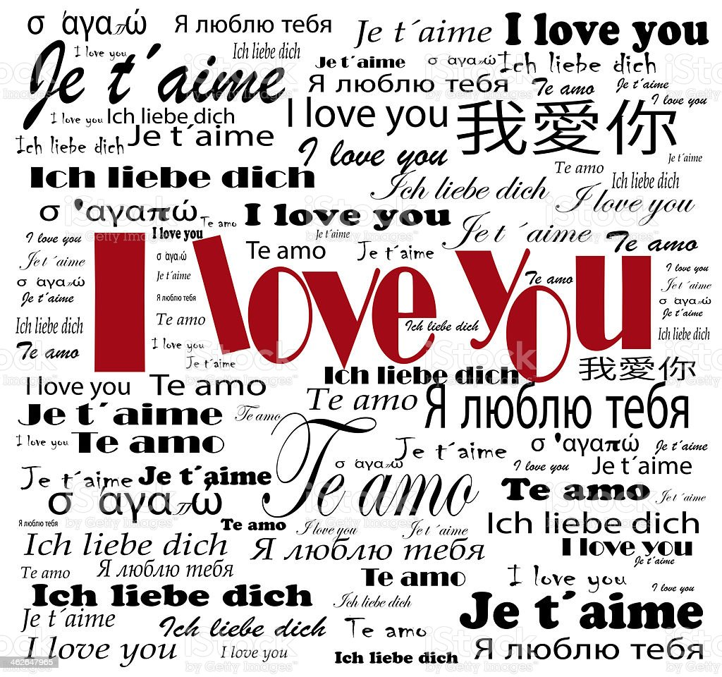 many i love you words in languages stock photo
