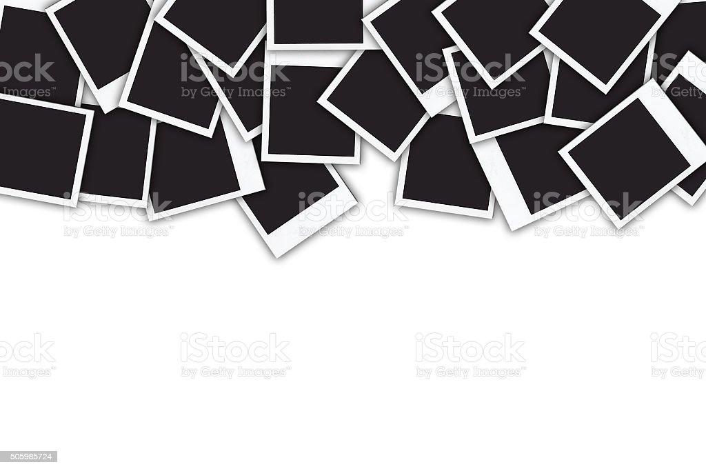 Many instant photo frames isolated on white background stock photo
