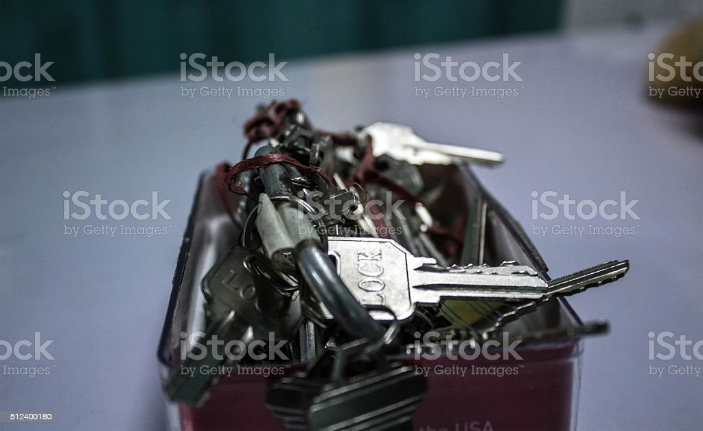 Many keys in box. stock photo