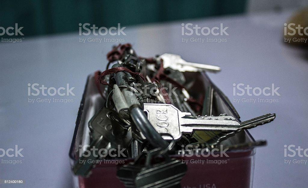 Many keys in box. stock photo