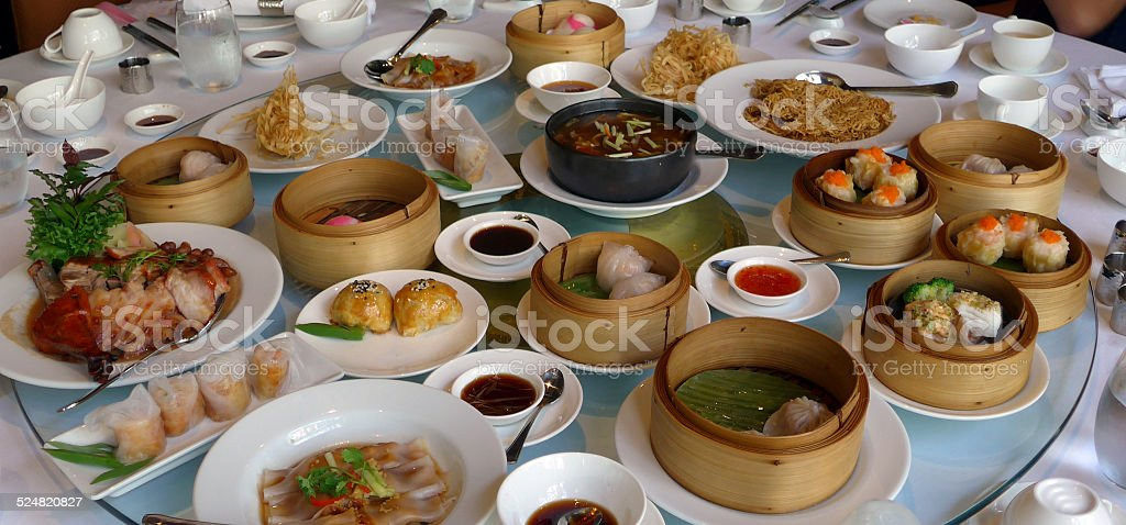 many kind of Chinese dimsum on round table stock photo