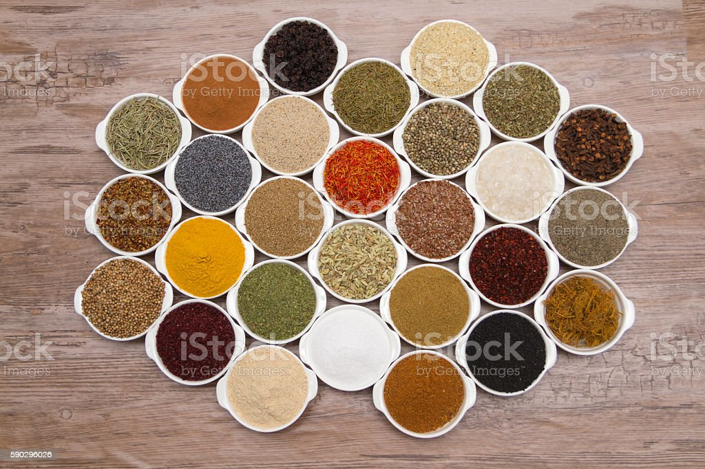 many kind of spices stock photo