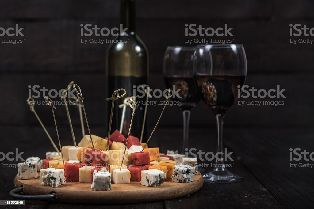 many kinds of cheeses stock photo