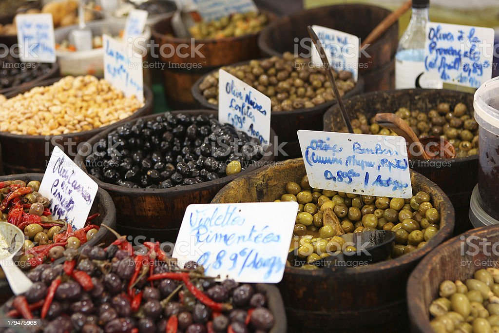 Many Kinds of Olives For Sale at Mediterranean Farmer's Market stock photo
