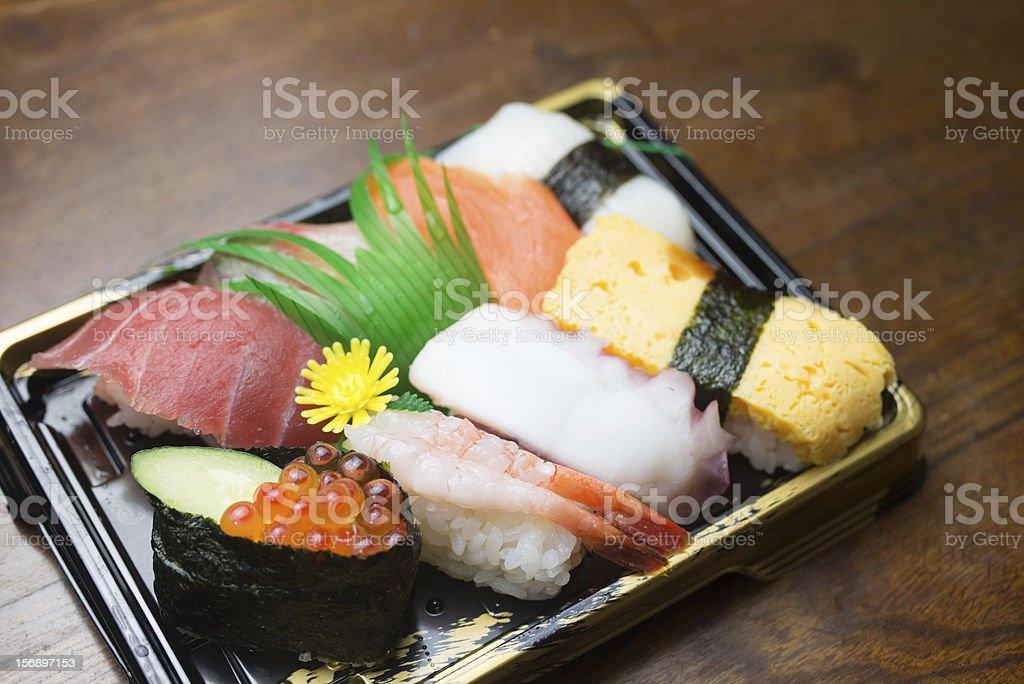 Many kinds of sushi (握り寿司) royalty-free stock photo
