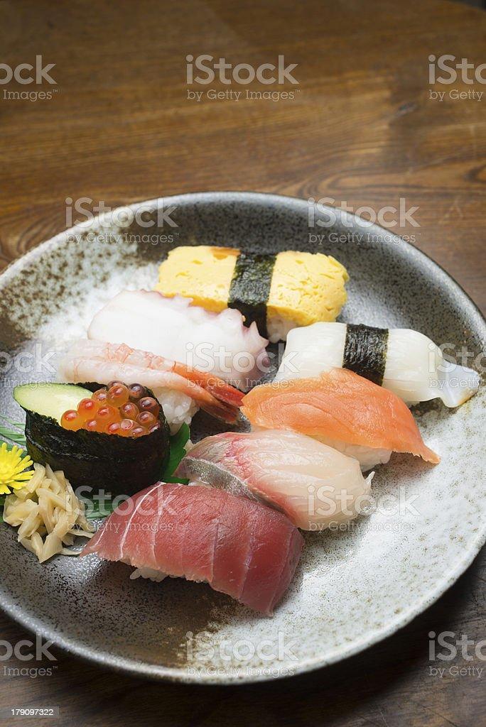 Many kinds of sushi royalty-free stock photo