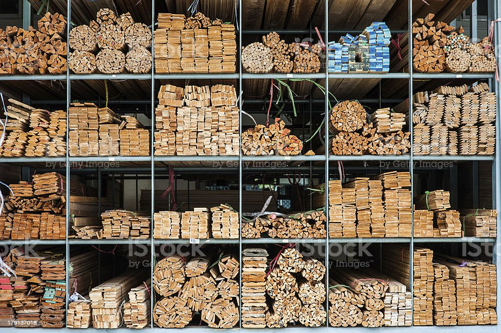 many kinds of wood product in storage royalty-free stock photo