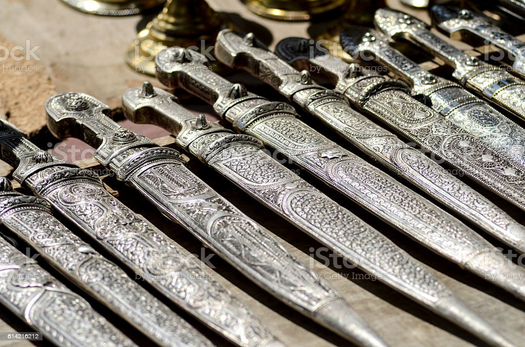 many knifes with ornament stock photo