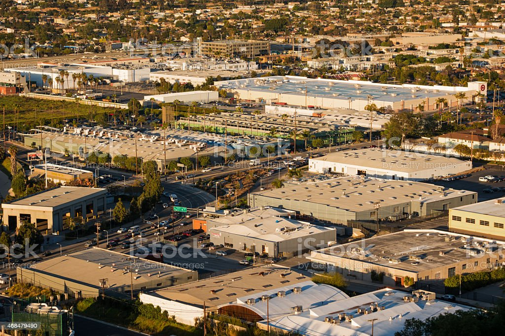 Many Large Warehouse Buildings from Above in Los Angeles California stock photo