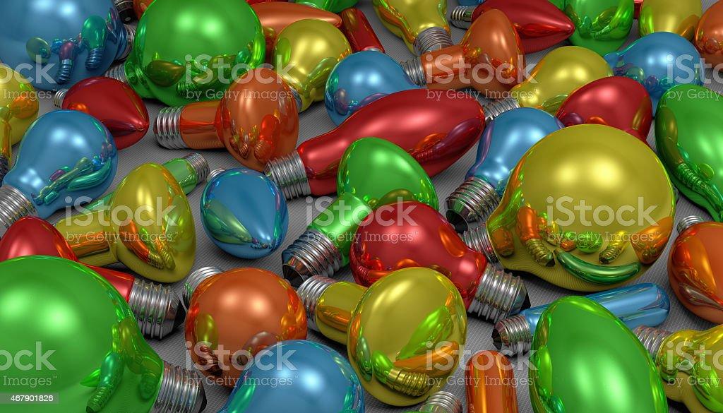 Many light bulbs stock photo