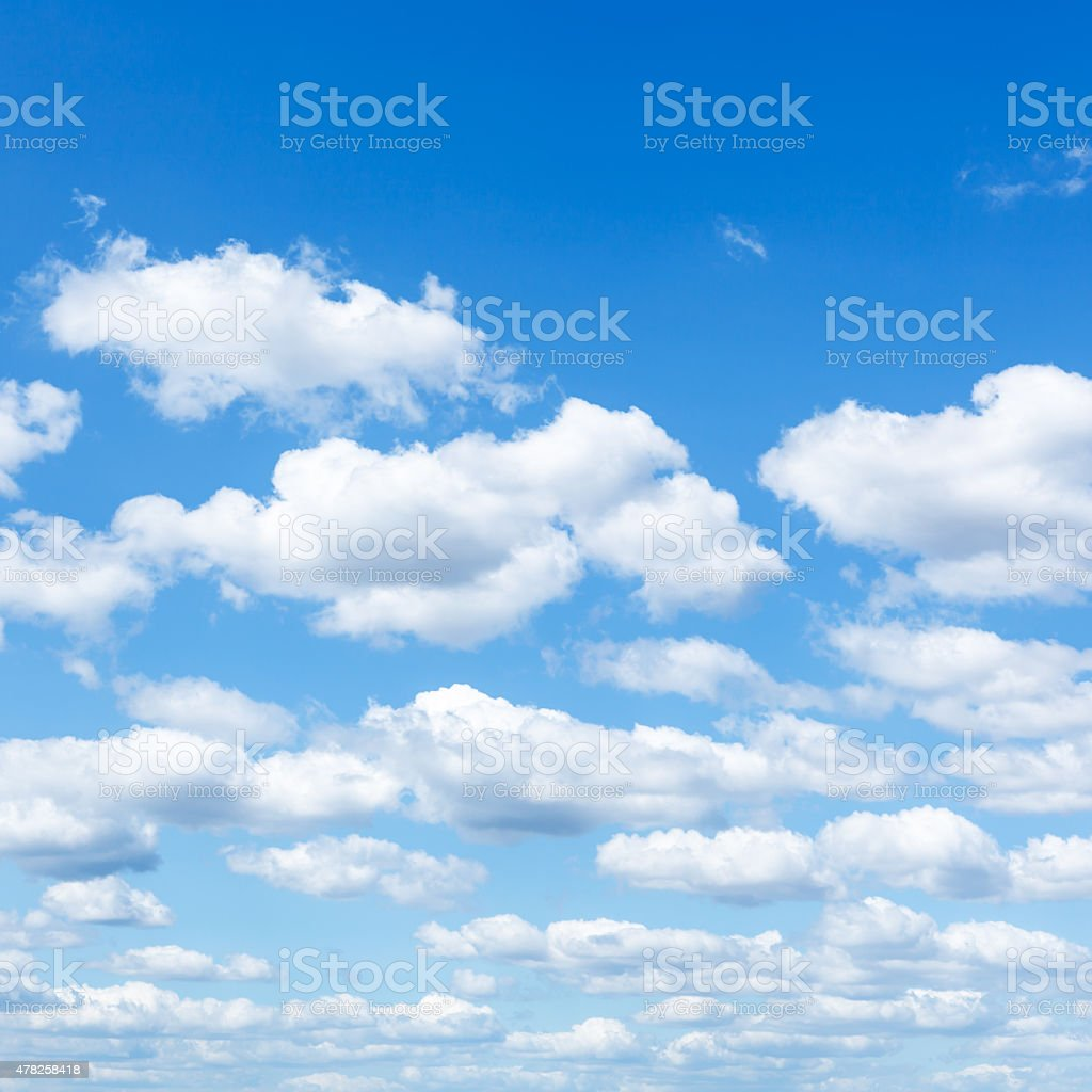 many little white clouds in summer blue sky stock photo