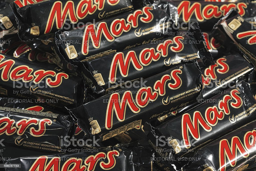 Many Mars chocolate bars stock photo