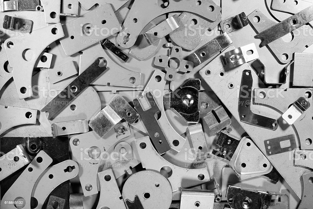 Many metal steel plates detail parts as background stock photo