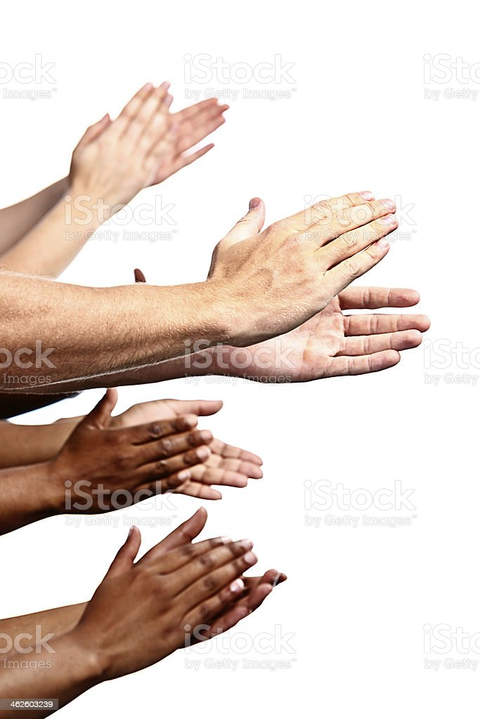 Many mixed hands clapping enthusiastically stock photo