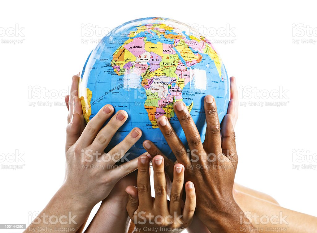 Many mixed hands support Mother Earth with Africa topmost royalty-free stock photo