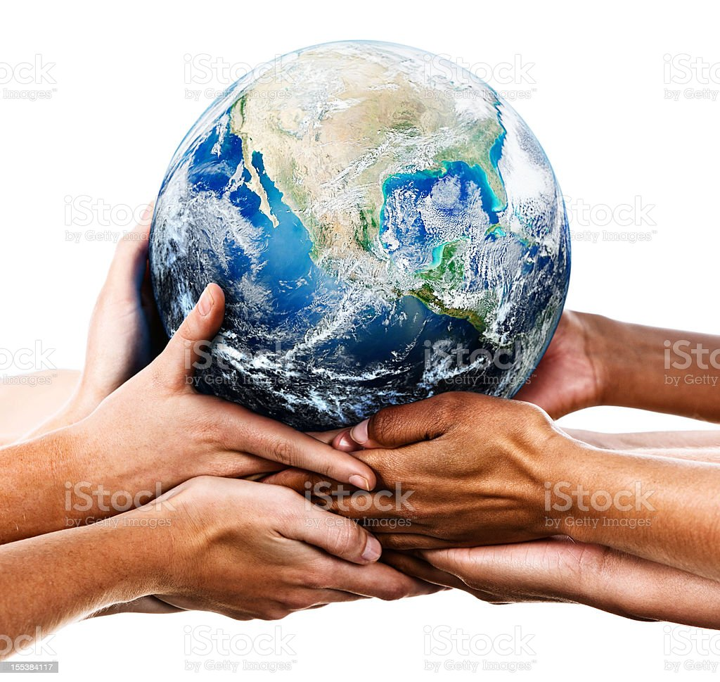 Many mixed hands supporting the Earth stock photo