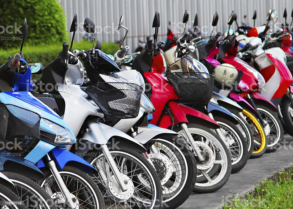 Many motobikes royalty-free stock photo