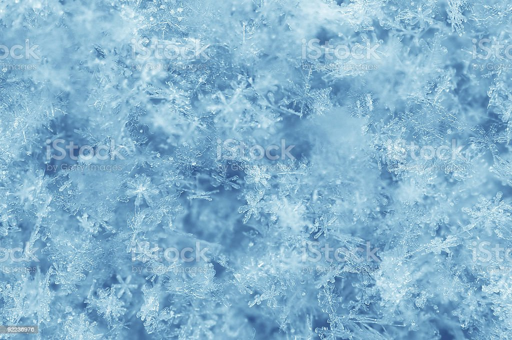 Many multicolored blue and white snowflakes falling stock photo