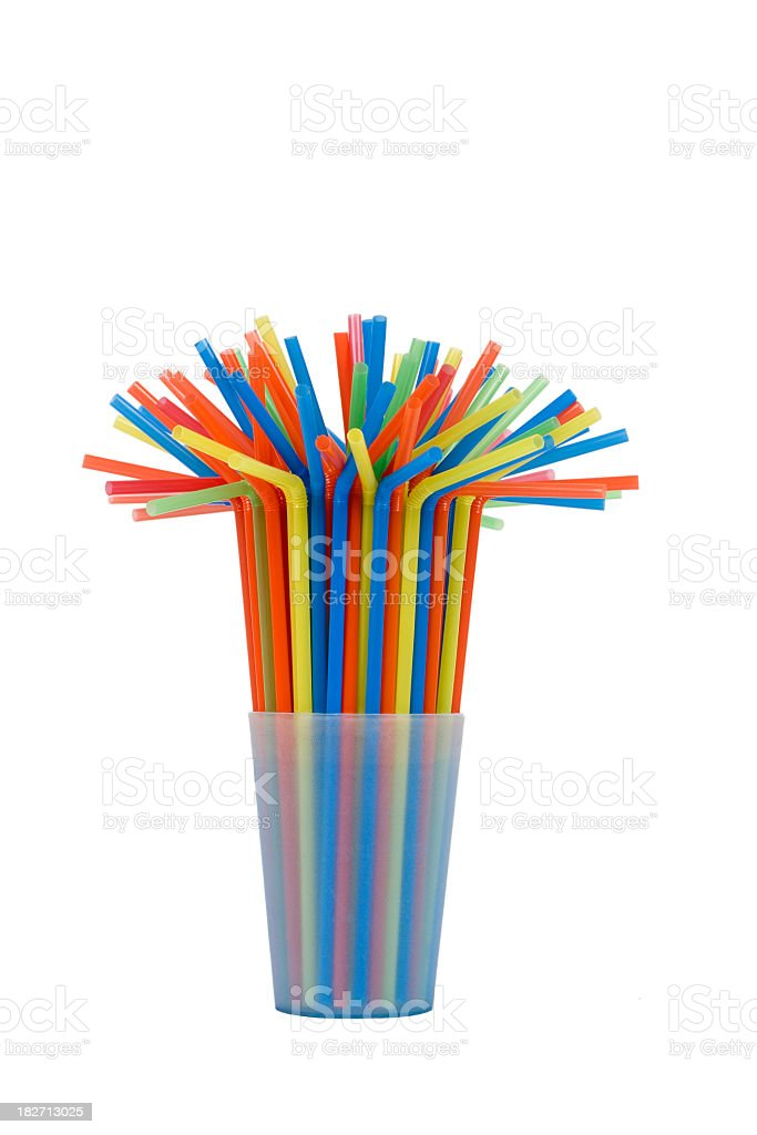 many multicolored tubules in blue glass stock photo