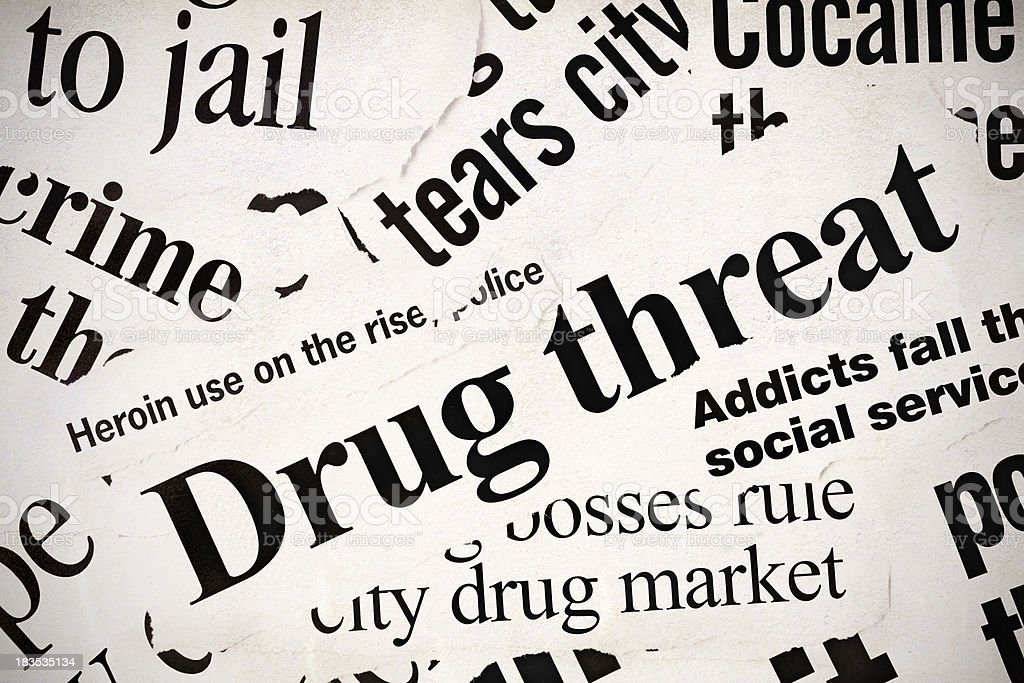 Many newspaper headlines concerned with the drug problem stock photo