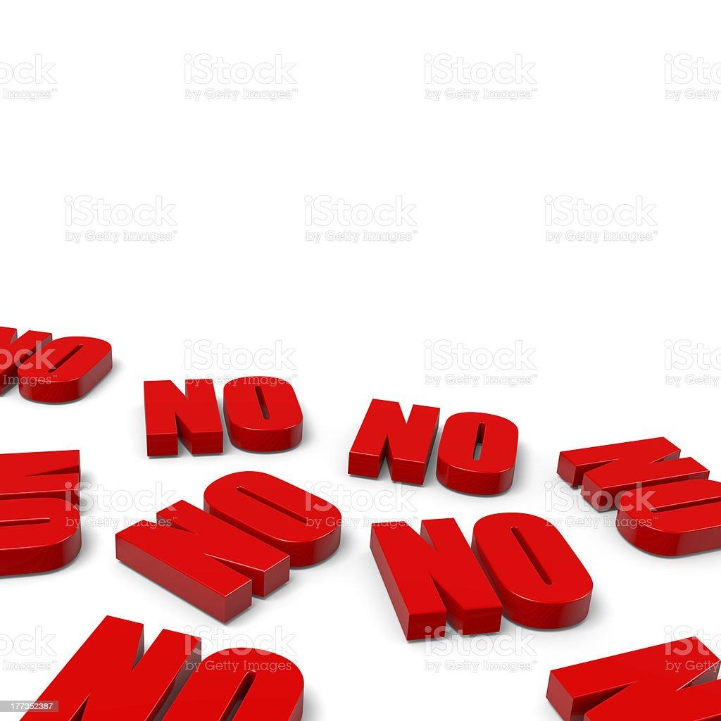 Many No Red Text stock photo