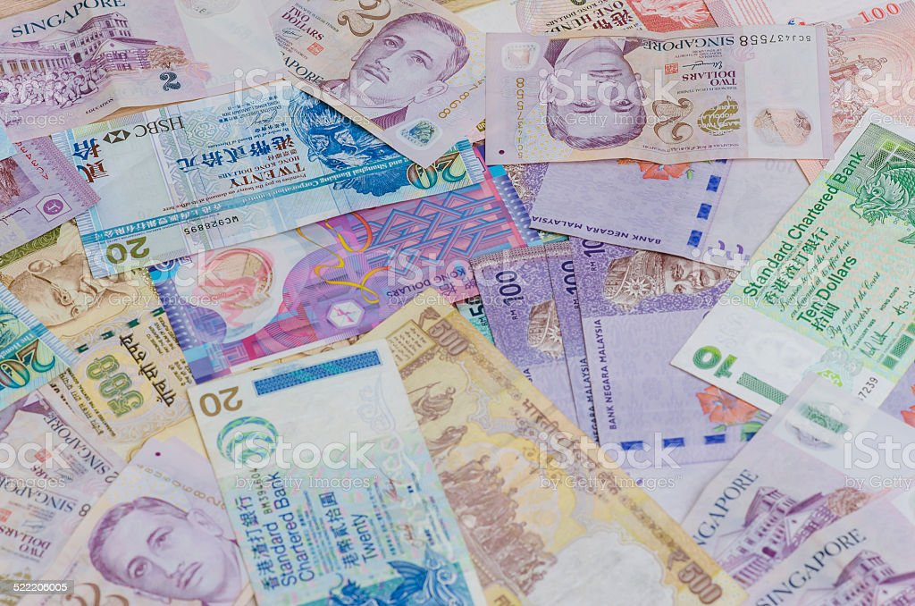 Many of asian currency stock photo
