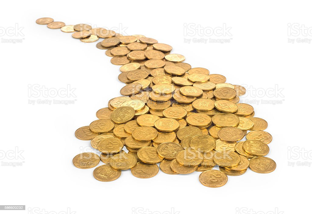 many of gold coins making curved path stock photo